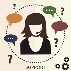 Business customer care service concept or technical support illu