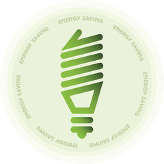 Energy saving lamp or light bulb sticker in green color circle i