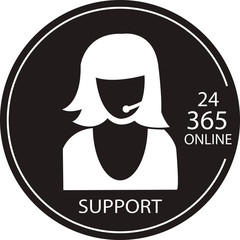 Technical support or call center logo black and white color desi