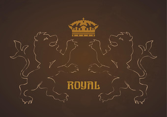 Vintage royal label with lions and crown concept background in b