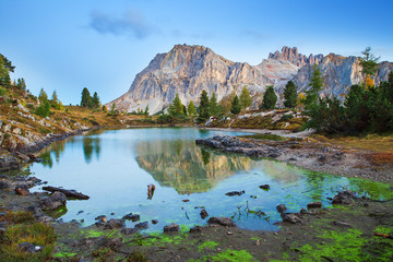 Limides Lake and Mount Lagazuoi, Dolomites