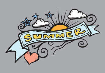 doodle graphics summer banner