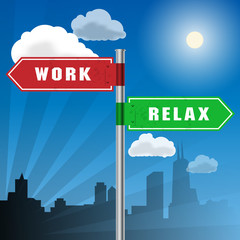 Road sign with words Work, Vacation, vector