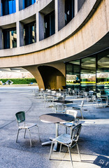 Tables and chairs outside the Hirshhorn Museum in Washington, DC