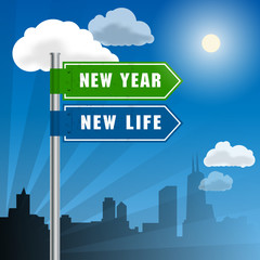 Road sign with words New Year, New Life, vector