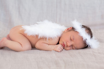 Cute sleeping newborn angel's character