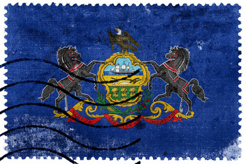 Pennsylvania State Flag - old postage stamp