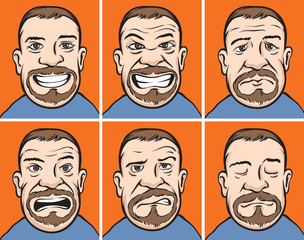 Bearded man faces with various emotions