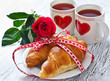 Breakfast for Valentines's Day on February 14 with romantic tabl