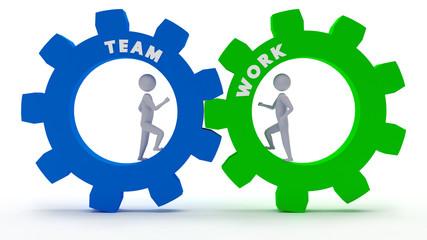Teamwork - 3D Strichmännchen