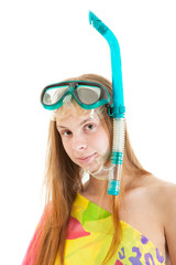 young sexy blonde woman with snorkel and mask, close-up