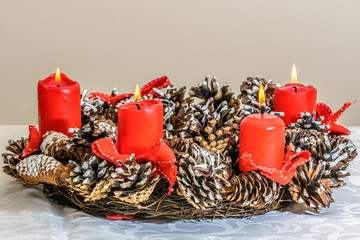 Christmas Advent wreath with red candles