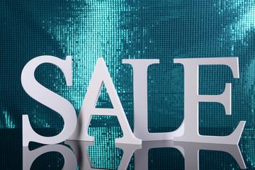 Sale on blue background