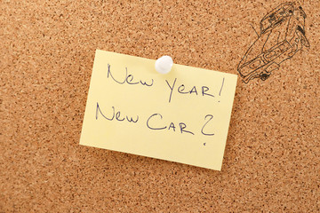 New year sticker with text new car