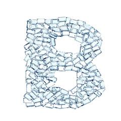 b lettera diamanti cristalli gemme 3d, sfondo bianco