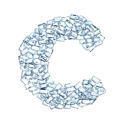 c lettera diamanti cristalli gemme 3d, sfondo bianco