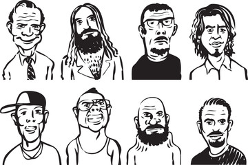 whiteboard drawing - collection of doodle men faces