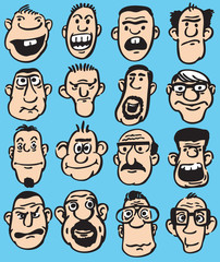 Big set of doodle faces in various facial expressions