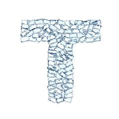 T lettera diamanti cristalli gemme 3d, sfondo bianco