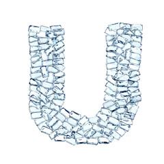 U lettera diamanti cristalli gemme 3d, sfondo bianco