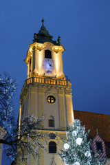 Christmas old town hall in Bratislava at dusk