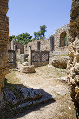 remains at ancient Olimpia archaeological site in Greece