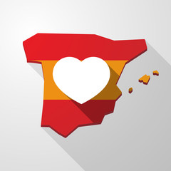 Spain map icon with a heart