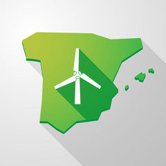 Spain map icon with a wind generator
