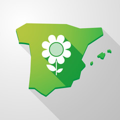 Spain map icon with a flower