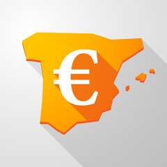 Spain map icon with an euro sign