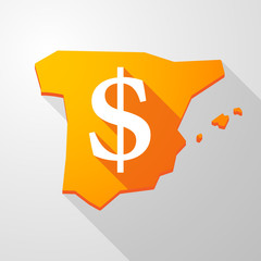 Spain map icon with a dollar sign