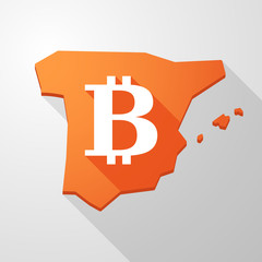 Spain map icon with a bitcoin sign