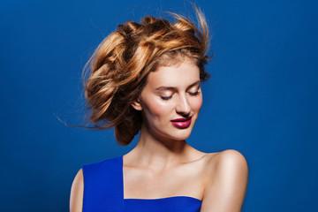 Woman hairstyle fashion portrait.