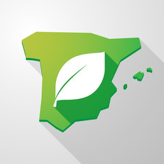 Spain map icon with a leaf