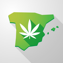 Spain map icon with a marijuana leaf