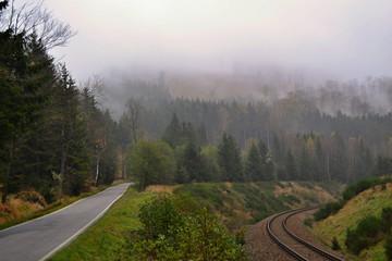 Two roads in fog