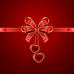 Valentines decoration on red background