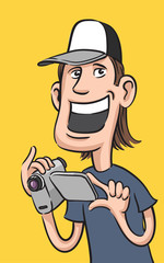 happy guy with digital video camera