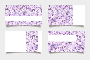 Business cards with lilac flowers. Vector illustration.
