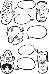 whiteboard drawing - different emotion faces with speech balloon