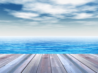 Conceptual wood deck over sea and sky