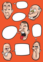 various emotion faces with speech balloons vector collection