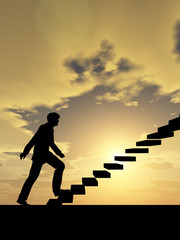 Conceptual business man climbing a stair