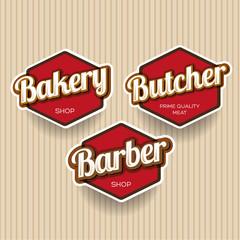 Bakery, Butcher, Barber label or badge