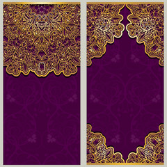 Set of ornate template for banners with ornaments oriental style