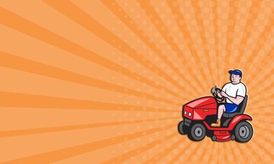 Business card Gardener Mowing Rideon Lawn Mower Cartoon