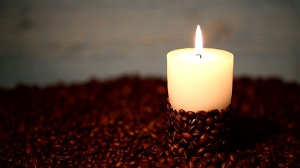 Burning of a candle, coffee beans