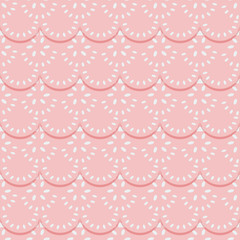 Seamless pattern of pink fabric lace ribbons.