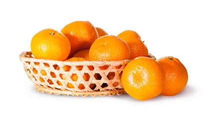 Ripe Sweet Tangerines In Wicker Basket