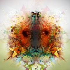 тигр на ярком фоне